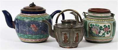CHINESE POTTERY AND PEWTER TEAPOTS 19TH C 3 PCS.