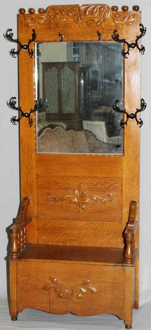 Antique Oak Hall Tree W Mirror 19oo C