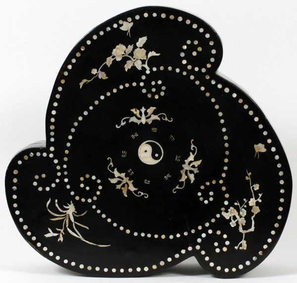 CHINESE MOTHER OF PEARL & BLACK LACQUER BOX