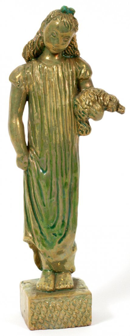 PEWABIC POTTERY FIGURE OF A GIRL BY GWEN LUX