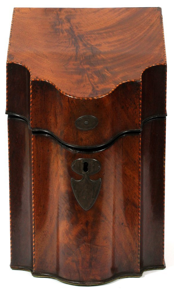 GEORGE III MAHOGANY KNIFE BOX 18TH C.