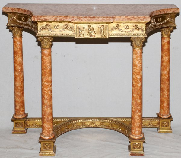 NEOCLASSICAL STYLE CONSOLE W/ MARBLE TOP
