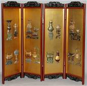 CHINESE LACQUER FOUR-PANEL SCREEN