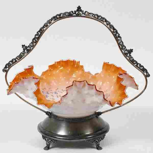 VICTORIAN GLASS & SILVERPLATE BRIDE'S BASKET 1880