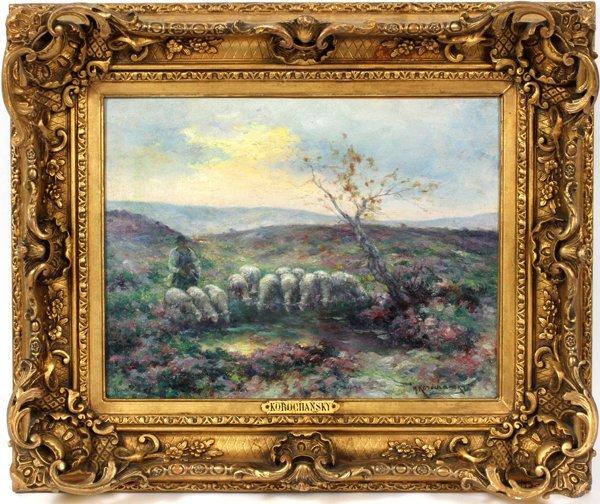 MICHEL KOROCHANSKY OIL LANDSCAPE SHEEP & SHEPHERD