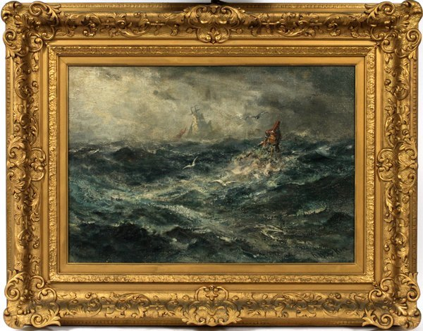 ROBERT HOPKIN OIL ROUGH SEAS W/ ROCKS, BUOY GULL