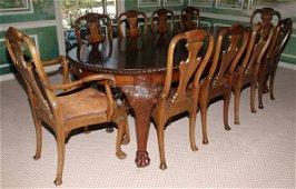 IRISH MAHOGANY OVAL DINING TABLE & SET OFCHAIRS