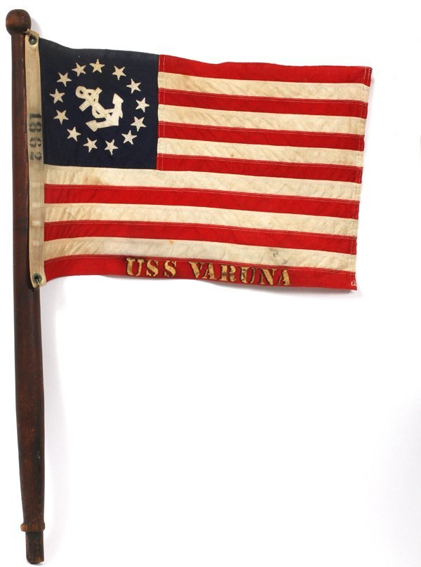 U.S.S VARUNA NAVAL FLAG ON WOODEN STAFF