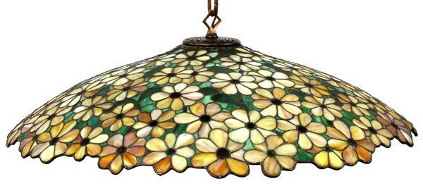 LEAD GLASS FLORAL HANGING SHADE