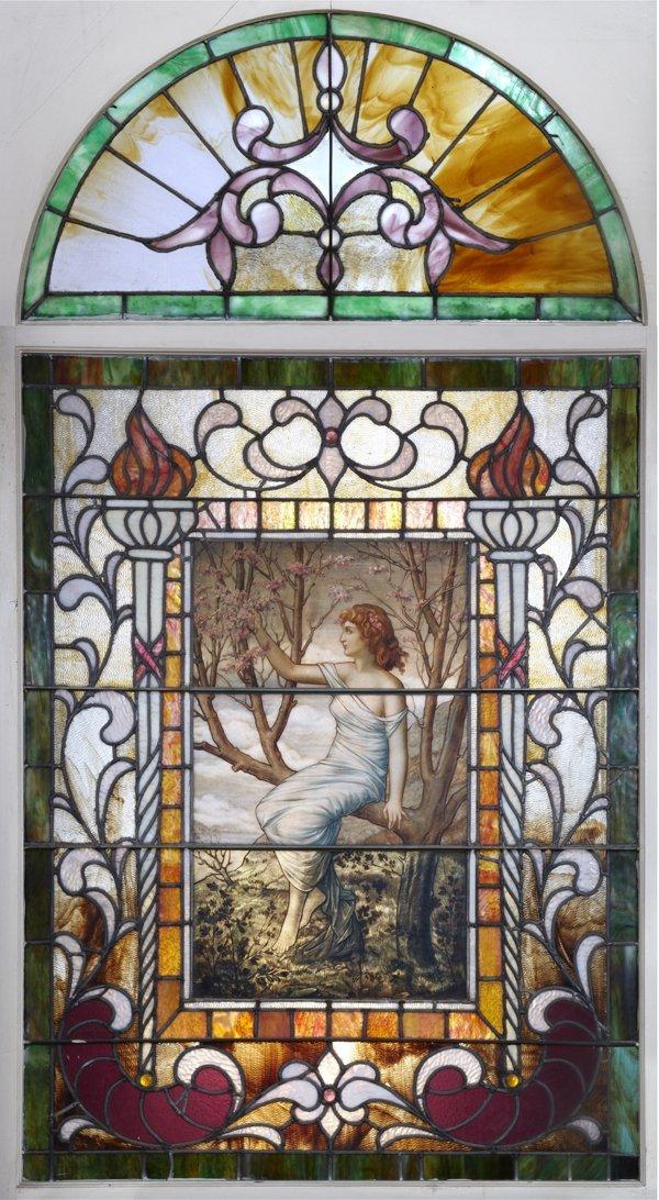 ART NOUVEAU PAINTED & LEADED GLASS WINDOW