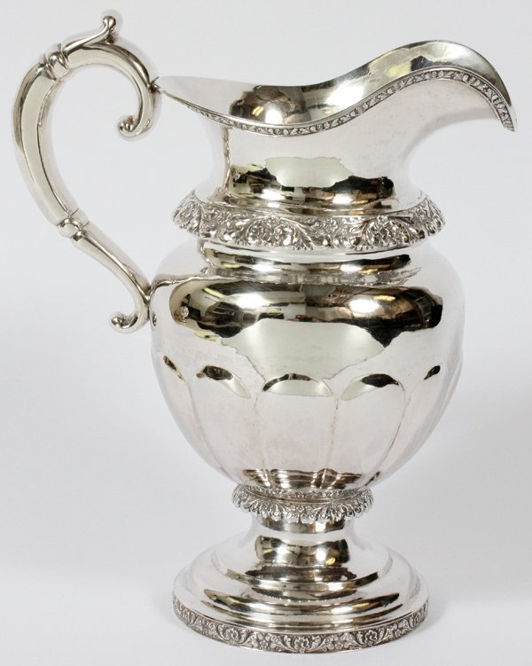 WILLIAM GALE AMERICAN COIN SILVER WATER PITCHER