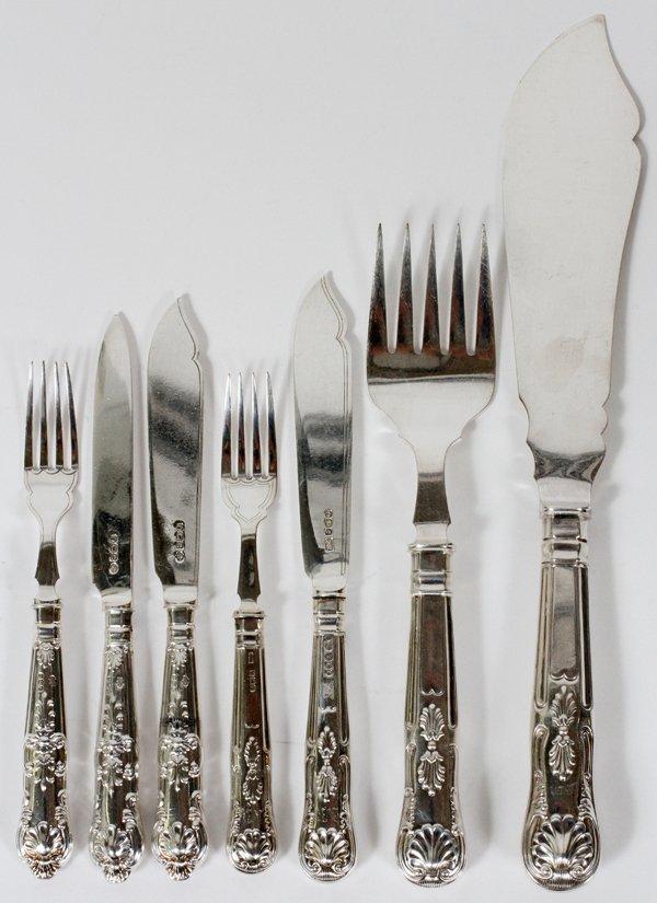 ENGLISH STERLING FISH FORKS, KNIVES FRUIT KNIVES