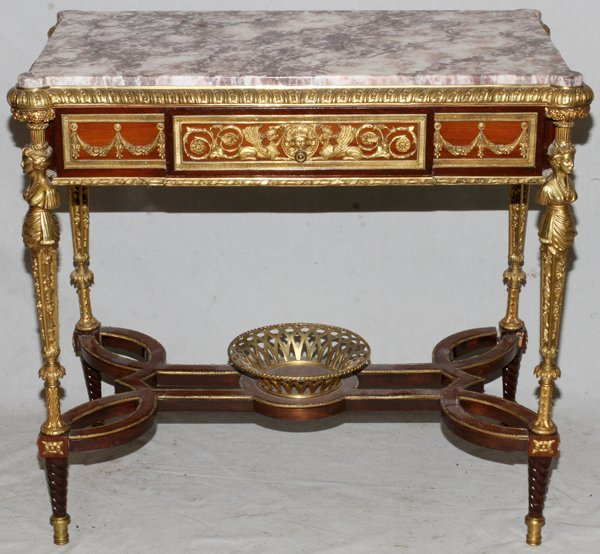 FRENCH MAHOGANY BRONZE-MOUNT TABLE W/ MARBLE TOP
