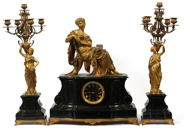 FRENCH GILT BRONZE & MARBLE CLOCK GARNITURE