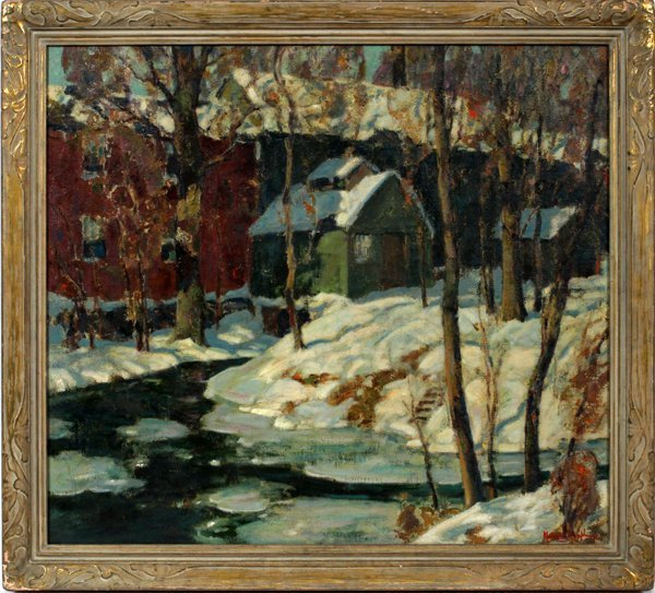 """MALCOLM HUMPHREYS OIL/C """"OLD MILL IN WINTER"""""""