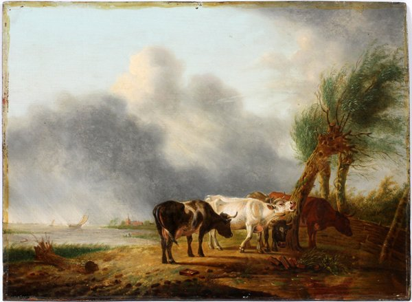 JAN BAPTISTE KOBELL OIL, LANDSCAPE WITH CATTLE
