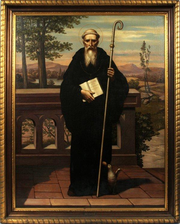 "RELIGIOUS ICON OIL ON MASONITE  ""ST. FRANCIS OF ASSISI"""