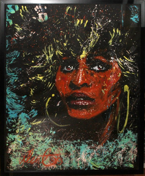 """DENNY DENT PAINTING ON PAPER SIGHT """"TINA TUNER"""""""