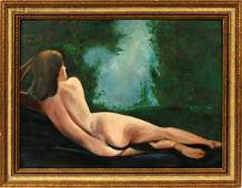 KAH OIL ON BOARD, RECLINING NUDE FEMALE