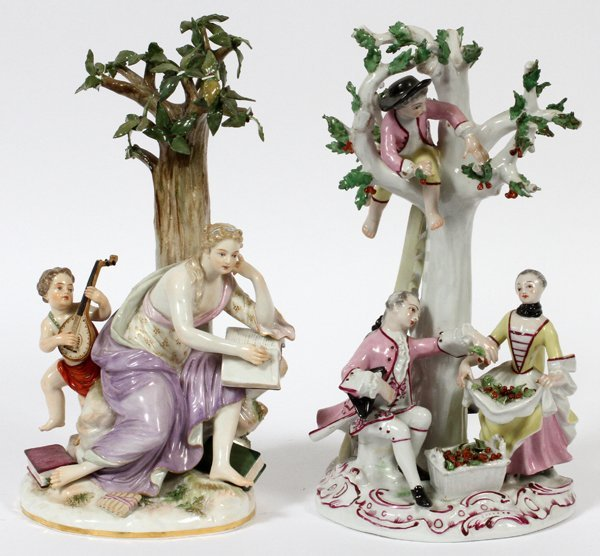 MEISSEN & FRENCH PORCELAIN FIGURE GROUPS, TWO