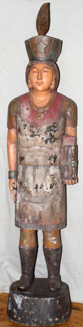 CARVED WOOD POLYCHROME CIGAR STORE INDIAN MAIDEN