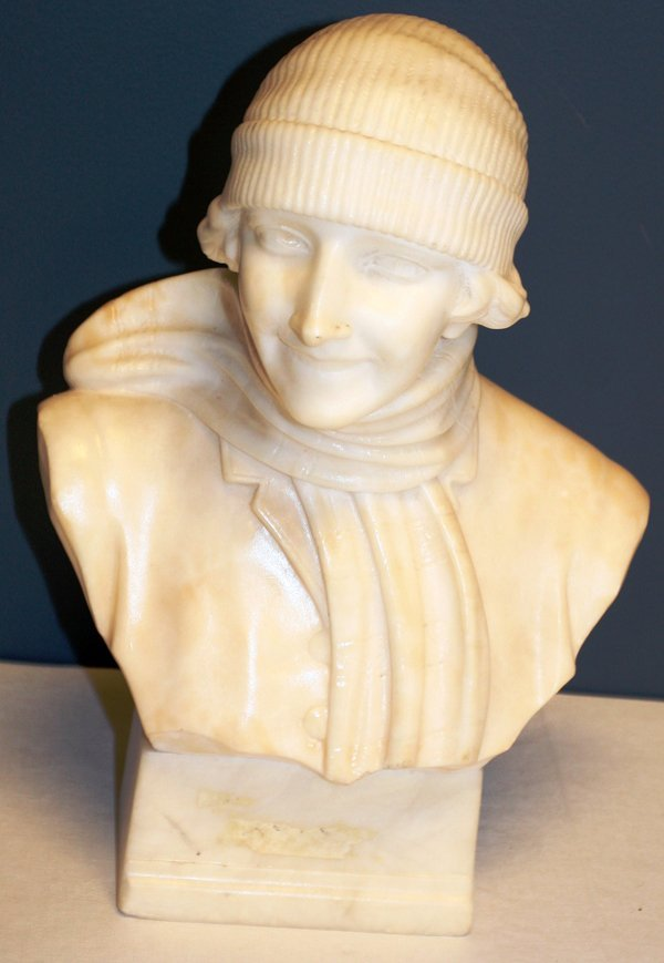 A. MICHELETTI MARBLE BUST OF WOMAN