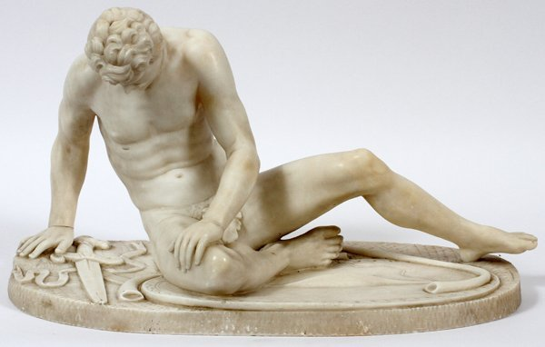 CLASSICAL WHITE MARBLE MALE NUDE SCULPTURE