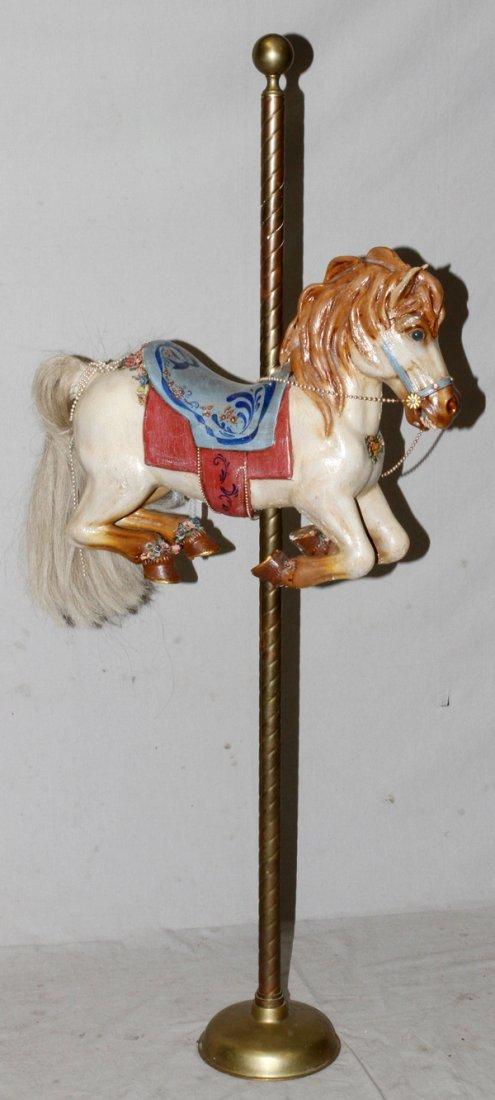 "DECORATIVE MINIATURE COMPOSITION CAROUSEL HORSE, H 20"""