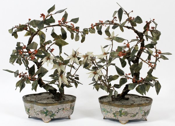 CHINESE JADE TREES IN CLOISONNÉ POTS C. 1900