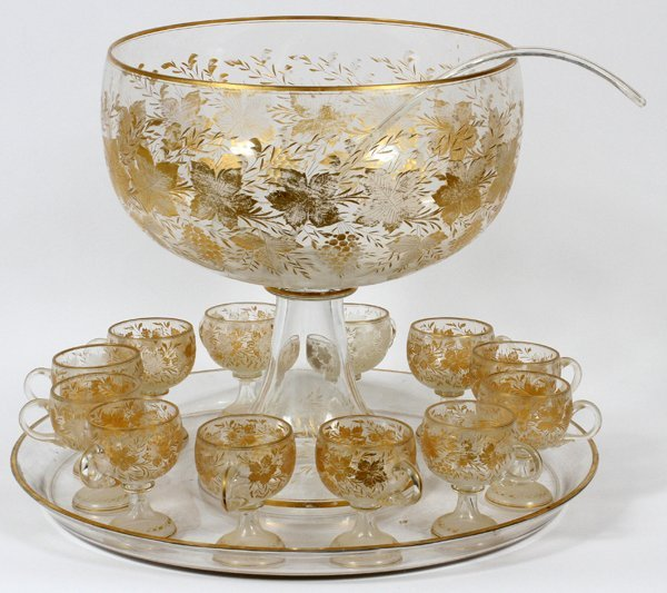 VENETIAN ETCHED GLASS PUNCH BOWL LADLE TRAY CUPS