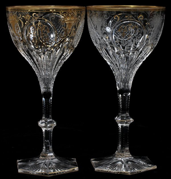 FRENCH CUT CRYSTAL WINE GLASSES SET OF ELEVEN