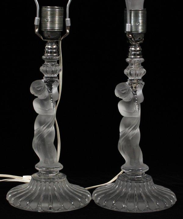 BACCARAT CRYSTAL FIGURAL LAMPS PAIR