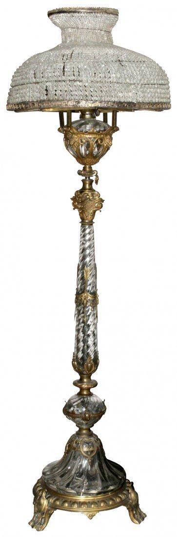 BACCARAT CRYSTAL & BRONZE FLOOR LAMP 19TH C.