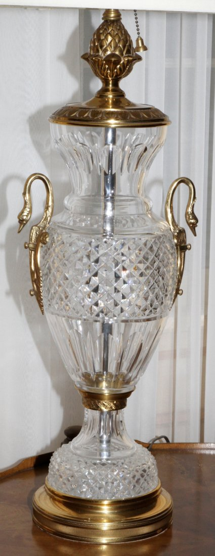 FRENCH CRYSTAL & BRONZE TABLE LAMP