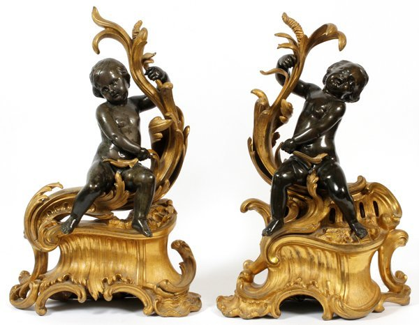 FRENCH BRONZE FIGURAL CHENETS 19TH C. PAIR