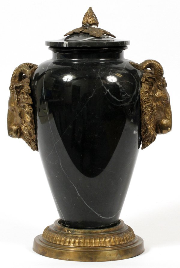 FRENCH BRONZE MOUNTED MARBLE COVERED URN