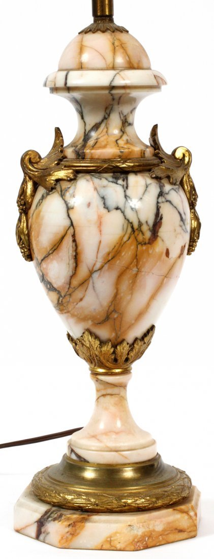 FRENCH CARVED MARBLE & BRONZE ORMOLU TABLE LAMP