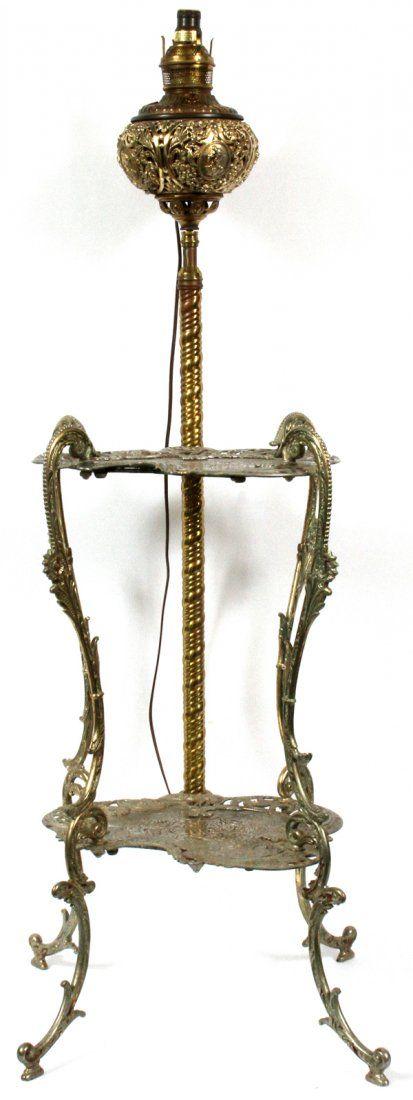 VICTORIAN PARLOR LAMP-TABLE GILT METAL W/ GLOBE