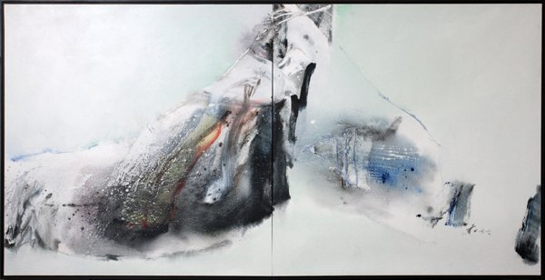 CHUANG CHE OIL ON CANVAS DIPTYCH C.1982