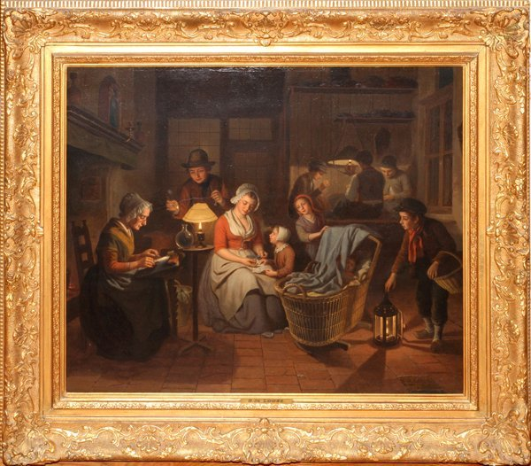 BASILE DE LOOSE OIL ON PANEL INTERIOR WITH FAMILY