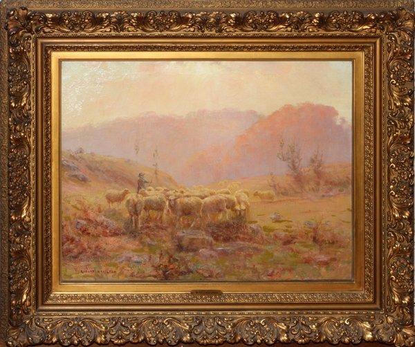 ROBERT HAMILTON OIL ON CANVAS SHEPHERD WITH FLOCK