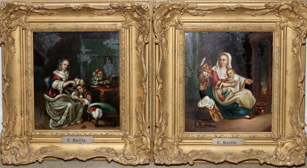 C. BOILLE OILS ON TIN TWO, FRENCH GENRE