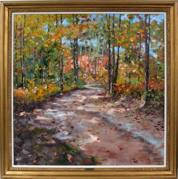 PIERRE BITTAROIL ON CANVAS, WOODS WITH ROAD
