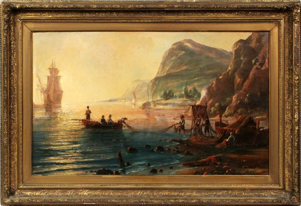 PIETRO BELLO OIL 1864 HARBOR SCENE WITH FISHERMAN