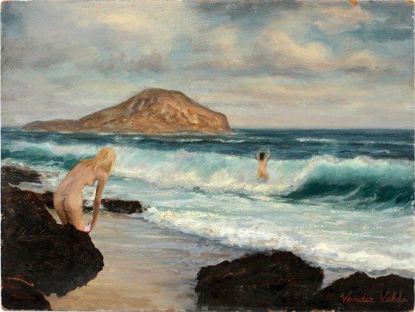 HANNY VANDER VELDE OIL, BEACH SCENE WITH FIGURES