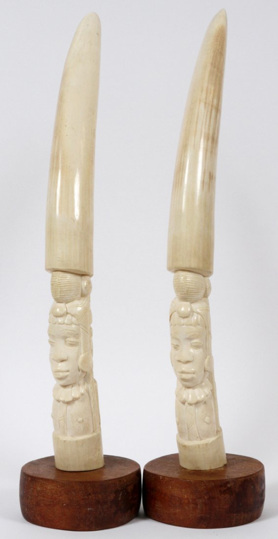 **NO ON-LINE BIDDING-AFRICAN CARVED IVORY TUSKS PAIR