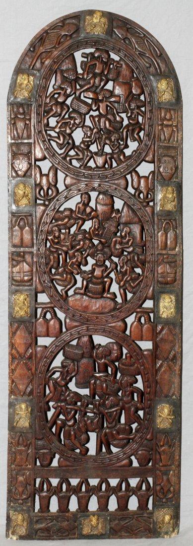 AFRICAN WOOD & BRONZE ARCHED DOOR