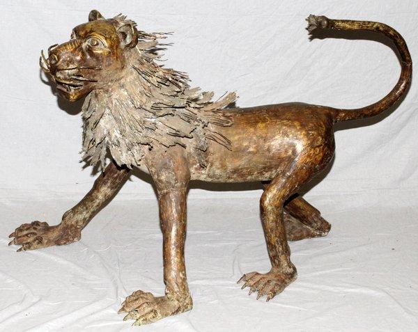 WEST AFRICAN BENIN CAST BRONZE LION FIGURE