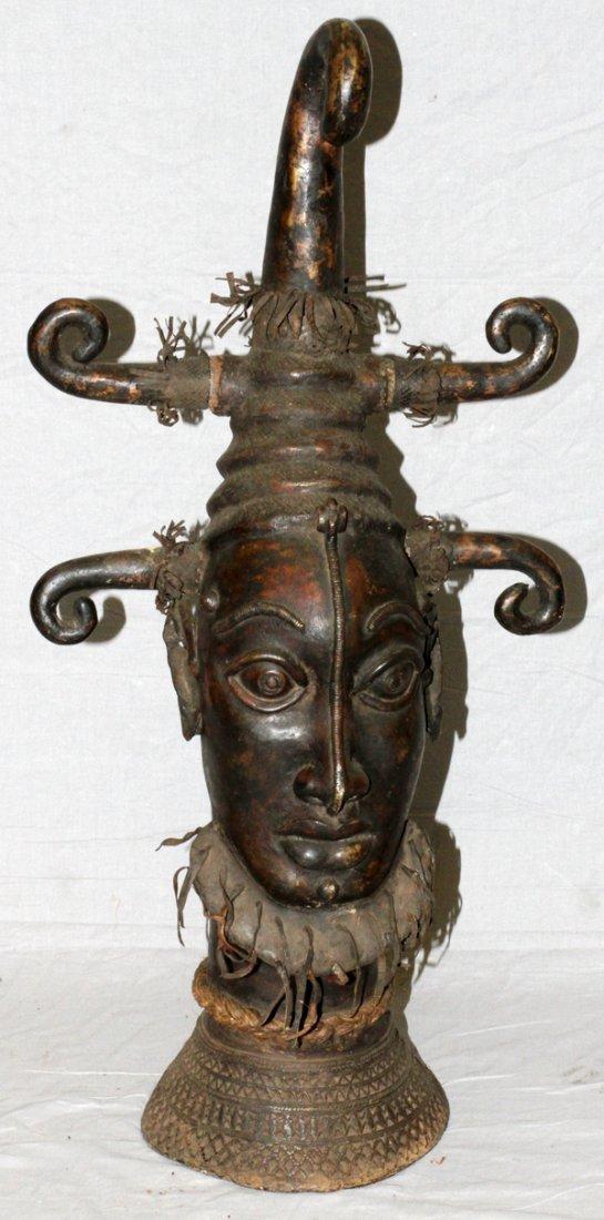 AFRICAN TRIBAL BRONZE HEAD