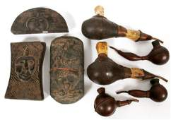AFRICAN WOOD BONE  COPPER PIPES W TOBACCO BOXES